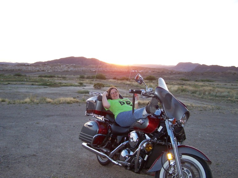059 Janet's biker babe pose at sunset Terlingua